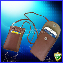 Wholesale Galaxy 4g Cases - Universal Soft Leather Case Mobile Phone Pouch Bag Neck Strap For iPhone 6 5 5S 5C 4 4G 4S Samsung Galaxy S6 Edge S5 S4 S3 Note2 3.5-5.5inch
