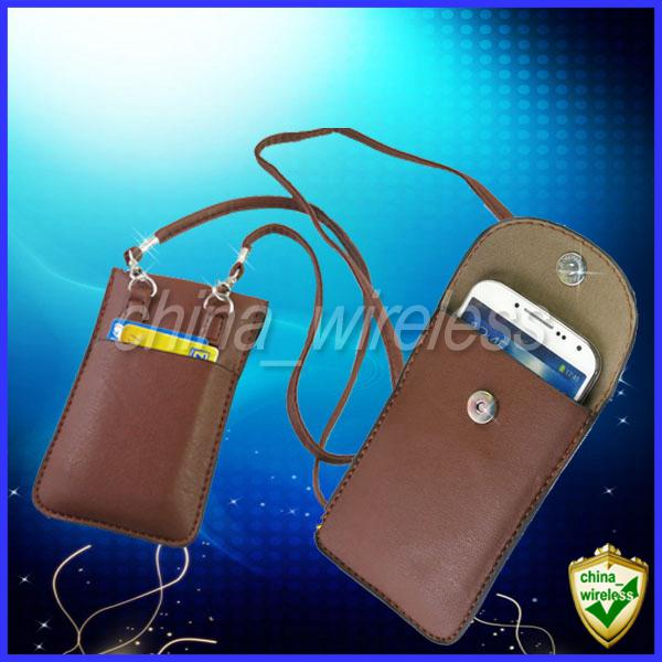 Universal Soft Leather Case Mobile Phone Pouch Bag Neck Strap For iPhone 6 5 5S 5C 4 4G 4S Samsung Galaxy S6 Edge S5 S4 S3 Note2 3.5-5.5inch