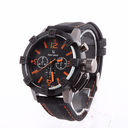 online shopping Hot Sale Vogue V6 D surface Thick Case Strips Hour Marks Black Hours Analog Military Man Mens Business Watch Christmas Gift