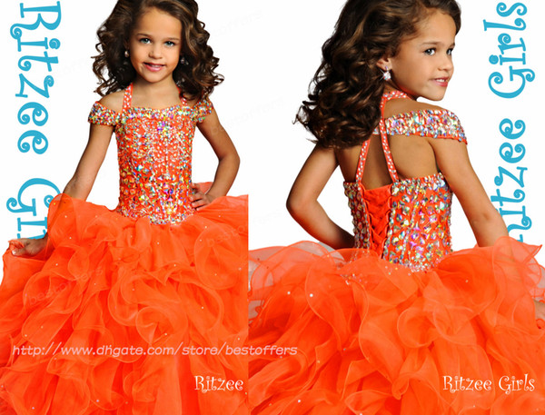 top popular 2018 Ritzee Girls Beads Crystals Girl's Pageant Dresses Off Shoulder Tiers Organza Ruffles Princess Gowns for Birthday Party rg6790 2020