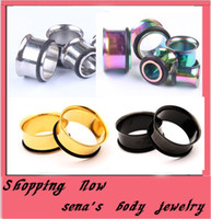 Wholesale O Ring Expander - 128pcs lot mix 4 color 3-14mm stainless steel single flare with O ring expander kits body jewelry piercing ear plug tunnels traugs
