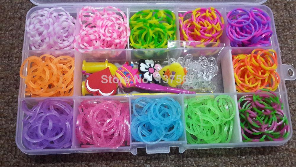 12 Colors Rubber Loom Bands Refills DIY Rubber Bands Bracelet Plastic Box  Set (500pcs Bands 24pcs S Clips 1 hook 4charms)