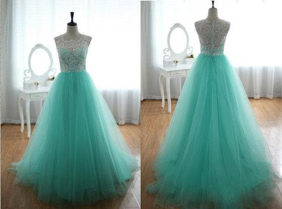 Colorful New Style Jewel Neck Teal A-Line Wedding Dresses Lace Tulle Zip Back Court Train Long Bridal Gowns Custom Made Fashion