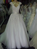Wholesale Elegant Wedding Dresses Sashes - New Arrival Custom Made Lace A Line Wedding Gowns 2014 With Capped Sleeve Appliques Fashion Elegant Long Floor Length Bridal Dresses W1070