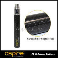 Wholesale carbon fibre tubes - Newest Genuine Aspire CF G Power Battery With Carbon Fibre Coated Tube 1600mah Aspire CF Battery Free DHL