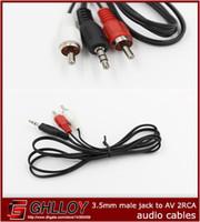 ingrosso av dvd player-Cavo audio stereo da 3,5 mm Jack maschio a AV 2 RCA per lettore musicale MP3 DVD 200 pezzi / lotto