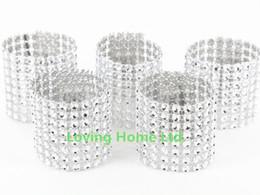 "Wholesale Diamond Rings Decorations - Silver 1.5"" 8 Row Bow Covers Napkin Rings Diamond Rhinestone Wedding Chair Sashes Bows"