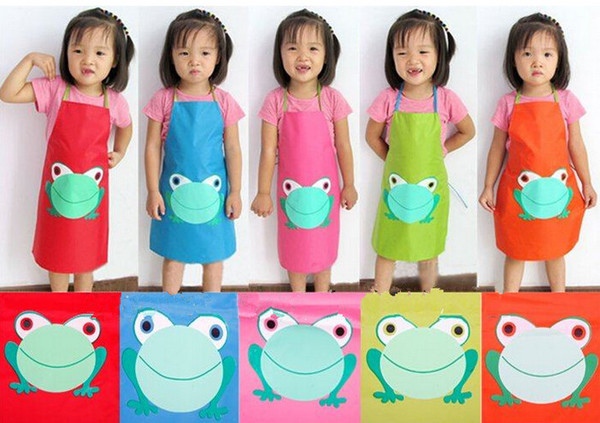 best selling Fashion Hot Cute Children Waterproof Apron Cartoon Frog Printed Painting Cooking