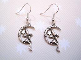 Wholesale Tibetan Silver Fairy - Hot ! *FAIRY SITTING ON CRESCENT MOON AND STAR* Fairie Drop Earrings Tibetan SP silver Fishhook Ear Wire (z708)