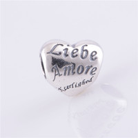 925 Sterling Silver Pandora Style beads Bracelet jewelry making Authentic Screw Core Love Heart Spacer Charm Beads DIY Jewelry, Accessories