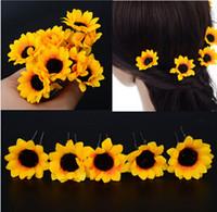 Wholesale New Wholesale Fashion Jewellery - New Arrive Fashion Jewellery 20Pcs Wedding Bridal Sunflower Flower Hair Pin Hair Accessory Free Ship[JH03021*20]