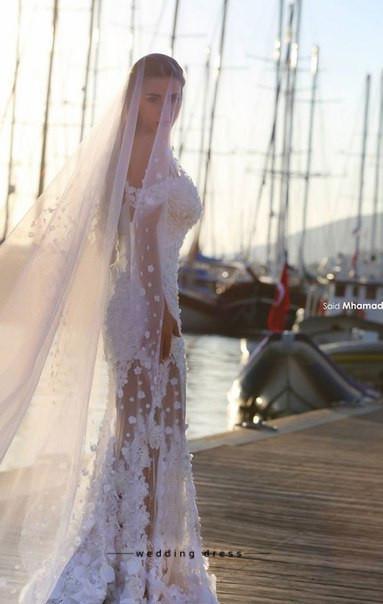 نمط جديد حورية البحر الرباط أثواب الزفاف انفصال قطار زين خارج على الكتف شاطئ فساتين الزفاف مخصص
