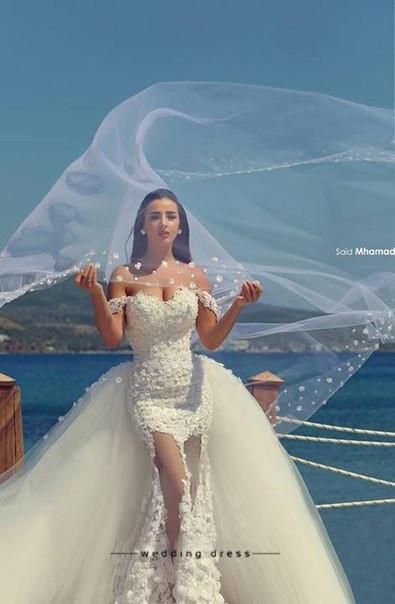 Yeni Stil Mermaid Dantel Gelin Önlükler Ayrılabilir Tren Aplike Off-omuz Sahil Gelinlik Custom Made