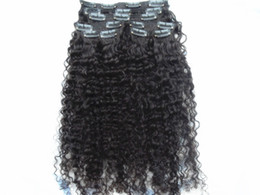 Wholesale Curly Virgin Hair Jet Black - new arrival brazilian virgin afro kinky curly hair weft clip in kinky curly natural black 1b# dark brown jet black color human extensions