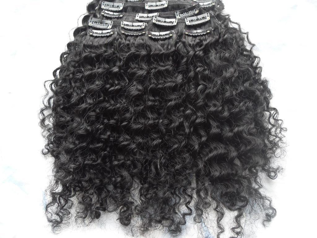 Clip di trama dei capelli ricci di Afro di Afro del REMY REMY REMY REMY AFRO AFRO in nero naturale 1b # estensioni di colore marrone scuro