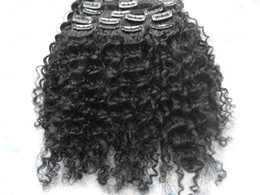 Wholesale Remy Afro Hair - new arrival malaysia virgin afro kinky curly hair weft clip in kinky curly jet black 1# color human extensions