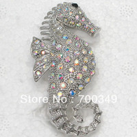 Wholesale Crystal Seahorse Brooch - Wholesale-MN-Wholesale 12piece lot Aurora Borealis Crystal Seahorse Brooches Jewelry gift Fashion Costume Pin Brooch C659 F