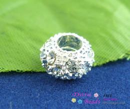 Wholesale Heart Metal Bead - 15PCs SP Rhinestone crystal Spacers Beads Fit Pantora 10x6mm (B01887) jewelry making DIY findings hot sale