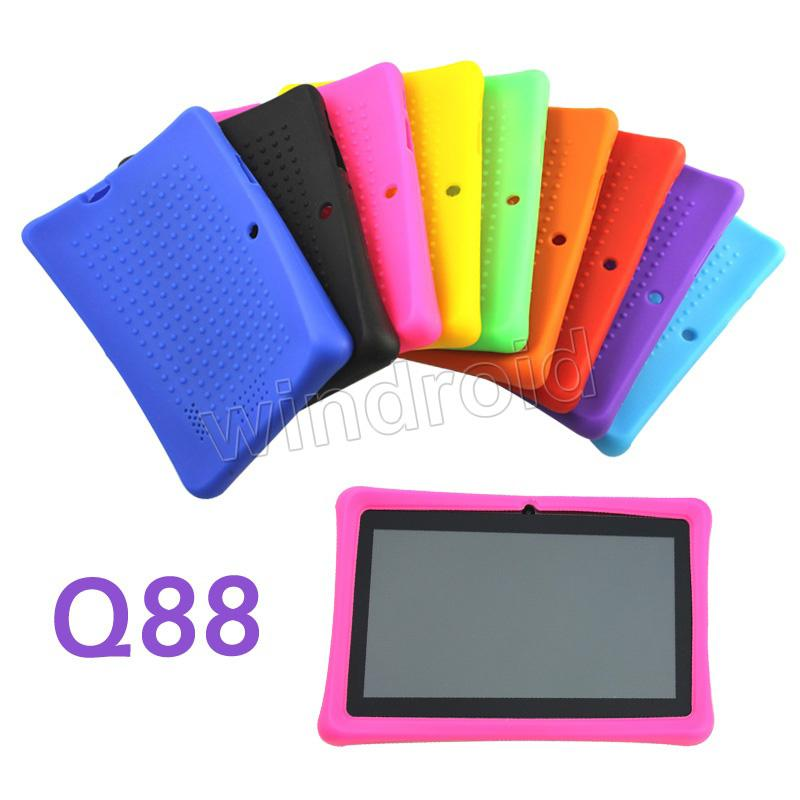 High quality Colorful Silicone Silicon Case Protective Cover For 7 Inch A13 A23 Q88 Q8 Dual Camera Tablet PC MID 9 colors free DHL 200pcs