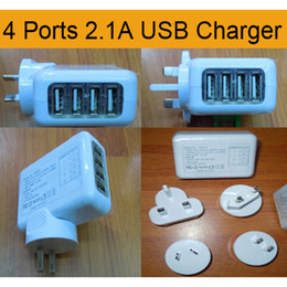 Wholesale chinese tablets uk - 4 Ports 2.1A USB Travel Charger Adapter US EU UK AU Interchangeable Plug Wall Charger for iPhone iPod Samsung Smartphone Tablet DHL