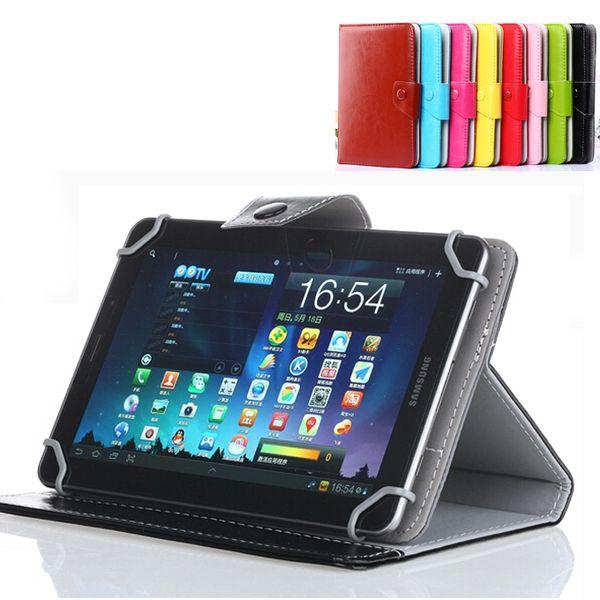 Mejor 7 8 9 10 pulgadas Funda de cuero multicolor Funda con tapa Tarjeta incorporada Hebilla Funda de tableta de cuero universal para Tablet PC