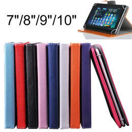 Wholesale folding laptop tablet - NEW 7 inch 8 inch 9 inch 10 inch PU Leather Case Built-in Card Buckled Cover Protector Skin With Holder For Epad Apad Laptop Tablet PC MID