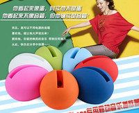 Wholesale Egg Shaped Speaker For Iphone - New Christmas Egg horn shape loud-speaker silicone Amplifier stand holder rubber microphone for iphone 4 4S 5 5C 5S 6 Free shipping