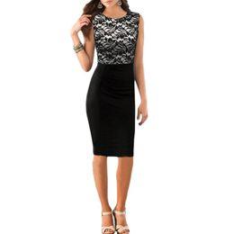 Wholesale Tunic Shift Dress - S5Q Lace OL Skirts Lady Floral Pencil Tunic Dress Stretch Cocktail Shift Women Dress AAADQG