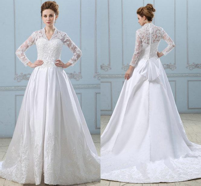 Kate Middleton Inspired Long Sleeve Ball Gown Wedding Dresses 2015 ...