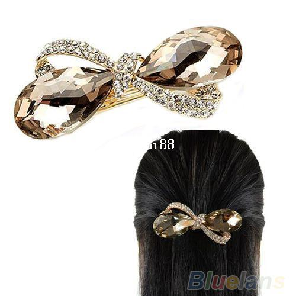 New Crystal Rhinestone Oval Bowknot Barrettes Hair accessories Clip Clamp Hairpin Headwear