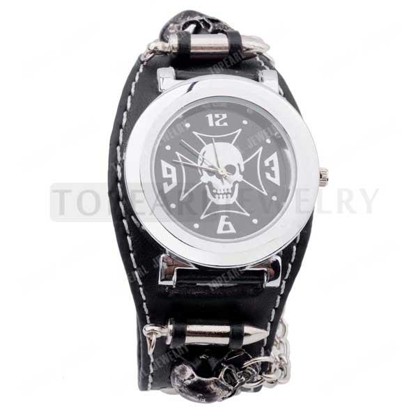 Teboer Jewelry Gothic Punk Rock Chain Skull Bullets Black Leather Watch LVB227