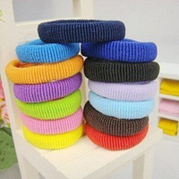 Wholesale Colorful Hair Elastic - Free shipping 100pcs colors mixed towel soft elastic ties Ponytail Holders Scrunchies Rainbow colorful ponies Hair Accessories