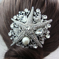 Wholesale Starfish Hair Comb Wedding - Wholesale-Bridal Wedding Wedding Hair Accessories Starfish Rhinestone Crystal Pearl Bridal Bridesmaid Headdress Bridal Hair Comb