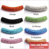 Wholesale Shamballa Clay Pave Beads - (5Pcs=1Lot ! ) Free Shipping 45MM Clay Disco Pave Long Crystal Shamballa Tube Bending Beads 23 Colors For Bracelet Making ST2