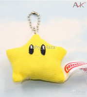 Wholesale Push Keychain - Cute Super Mario Bross Bross Star Pendants Push Soft Keychain Doll Toy for kids gift 5cm free shipping