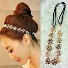 Wholesale Golden Roses Flowers - 12pcs hot selling lady's fashion golden color alloy rose flower elasticity Headband vintage hair accessories for women