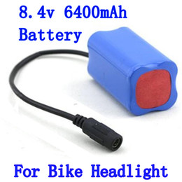 Wholesale Batteries For Bike Lights - 8.4V 6400mAh Rechargeable Battery Pack for For 2 in 1 CREE XML T6 LED Bike Bicycle Lamp Light headlight & Headlamp