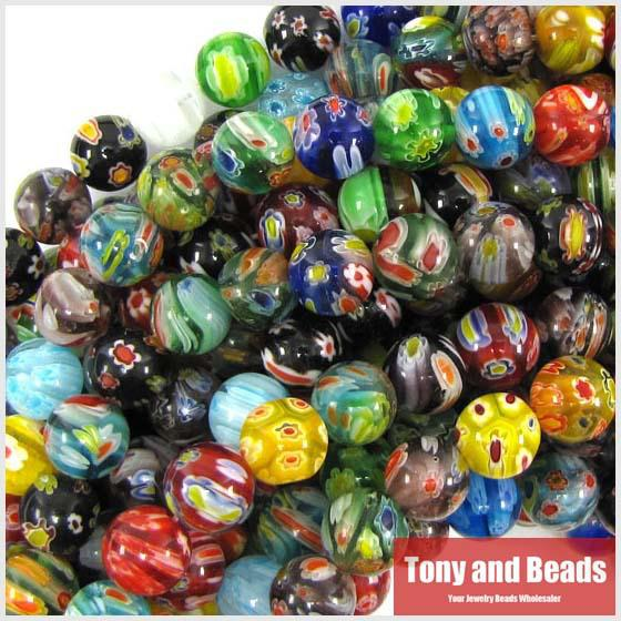 10mm multicolor lampwork glass round beads