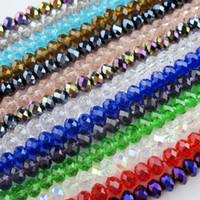 perlas de cristal de rondelle al por mayor-70 Unids / lote 6mm Cristal de Cristal Facetado Rondelle Granos del espaciador Para La Fabricación de Joyas 17 Colores En Total Envío Gratis No.CB11
