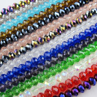Wholesale 6mm Faceted - 70Pcs Lot 6mm Mixed Faceted Glass Crystal Rondelle Spacer Beads For Jewelry Making 17Colors In Total Free Shipping No.CB11