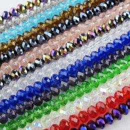 2019 facetada contas rondelle 70 Pçs / lote 6mm Misturado Vidro Cristal Rondelle Spacer Beads Para Fazer Jóias 17 Cores No Total Frete Grátis No. CB11 desconto facetada contas rondelle