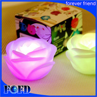 rose blume führte kerze lichter großhandel-Veränderbare Farbe LED Rose Flower Candle Lichter LED Beleuchtung Lichter Rosen lieben Lampe