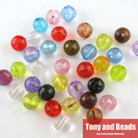 Wholesale Plastic Faceted Round Beads - Free Shipping Mixed Faceted Acrylic Plastic Lucite Round Ball Spacer Beads 6 8 10 MM Pick Size For Jewelry Making AC4
