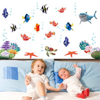 Wholesale Nursery Wall Stickers Fish - DIY Home Decoration Adesivo De Parede Underwater World Various Fish Ocean Wall Sticker Wallpaper Art Decor Mural Room Decal H11191