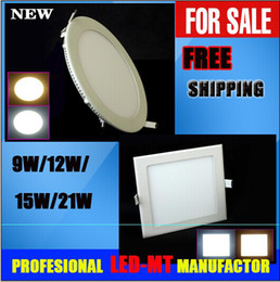 Wholesale Ultra Thin Led Downlights - X10pcs DHL FREE SHIPPING Ultra thin 18W led ceiling light 9W 12W 15W 21W warm cool white led panel downlights lamp AC 85-265V