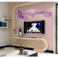 Wholesale Musical Wall Art Decor - Butterfly Romantic Musical Notes Purple DIY Wall Sticke Stickers Wallpaper Art Decor Mural Decal Home Decoration Rooms Sticker H11523