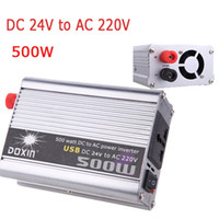 Wholesale Inverter Chargers Portable Power Supplies - 500W Watt Car Power Inverter Converter DC 24V to AC 220V USB Adapter Portable Voltage Transformer Car Chargers Power Supply K1330EU-24