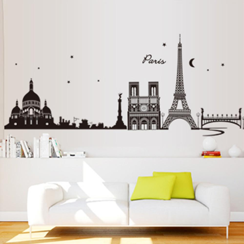 romantic paris city view diy wall sticke wallpaper art decor mural romantic paris city view diy wall sticke wallpaper art decor mural room decal adesivo de parede diy home decoration stickers h11522 sports wall stickers