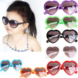 Wholesale Red Heart Shaped Sunglasses - 5PCS Heart Shape Children Baby Boys Girls Kids Sunglasses Child Goggles Age 3-12 Purple Red Blue Black Green Free Shipping