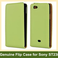 Wholesale Miro Case - Wholesale For Sony Xperia miro Case Genuine Leather Flip Cover Case for Sony Xperia miro St23i with Magnetic Snap Free Shipping
